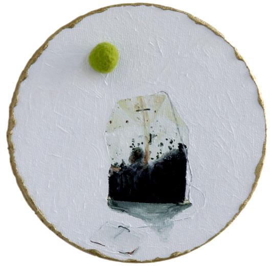 Chá tea, 2018, oil and pompom on canvas, 12 cm