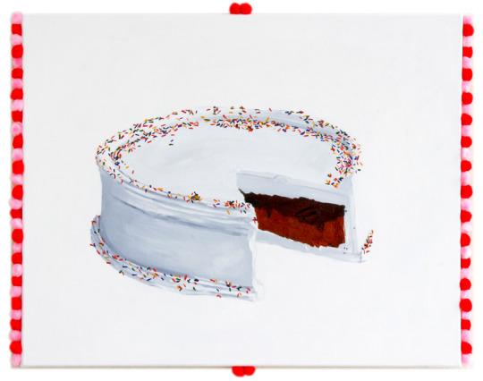 Bolo de neve, 2018, oil and pompons on canvas, 40 x 52 cm